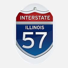 Interstate 57 - Illinois Ornament (Oval)