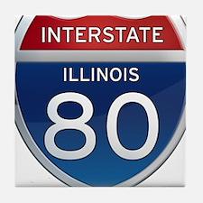 Interstate 80 - Illinois Tile Coaster