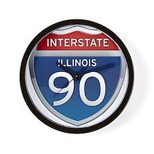 Interstate 90 - Illinois Wall Clock