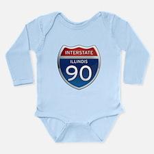 Interstate 90 - Illinois Long Sleeve Infant Bodysu