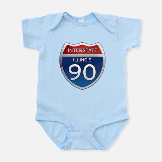 Interstate 90 - Illinois Infant Bodysuit