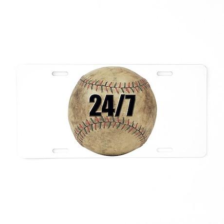 24/7 Baseball Aluminum License Plate