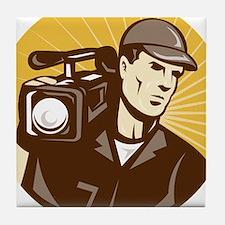 cameraman filmcrew Tile Coaster