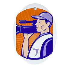 cameraman filmcrew Ornament (Oval)