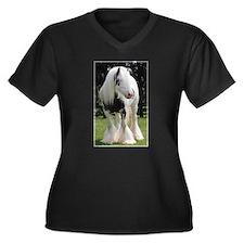 Gypsy Horse Stallion Women's Plus Size V-Neck Dark