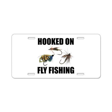 Hooked on fly fishing aluminum license plate by sportsnuts for Florida temporary fishing license