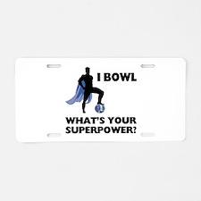 Bowling Superhero Aluminum License Plate