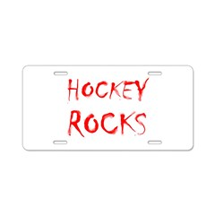 Hockey Rocks Aluminum License Plate