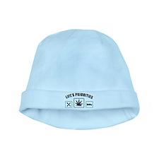 Lifes Priorities Eat Sleep Smoke baby hat