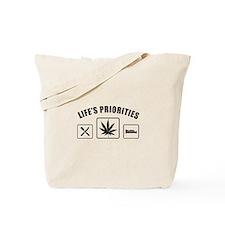 Lifes Priorities Eat Sleep Smoke Tote Bag