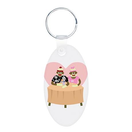 Sock Monkey Boy Girl Love Aluminum Oval Keychain