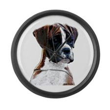 Brindle Boxer Puppy Large Wall Clock