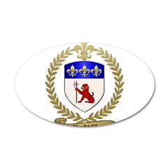 BRIDEAU Family Crest 22x14 Oval Wall Peel