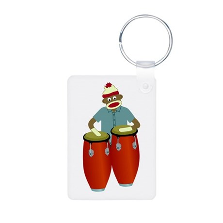 Sock Monkey Conga Drums Aluminum Photo Keychain