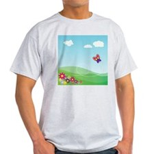 Cartoon Butterfly Landscape T-Shirt