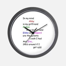 Abby GF McGee BF Ziva Cold Wall Clock