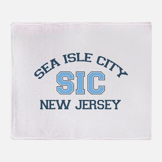 Sea Isle City NJ - Varsity Design Throw Blanket
