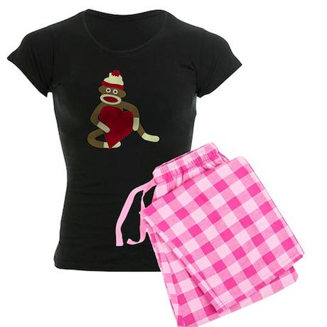 Sock Monkey Heart Women's Dark Pajamas
