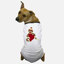 Sock Monkey Heart Dog T-Shirt