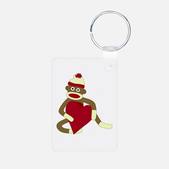 Sock Monkey Heart Keychains