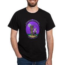 Goth Hula Girl holding a Tiki T-Shirt