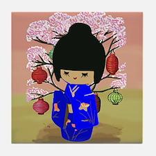 Blue Kokeshi Kawaii doll Tile Coaster