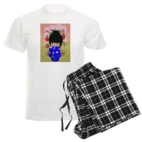 Blue Kokeshi Kawaii doll Men's Light Pajamas