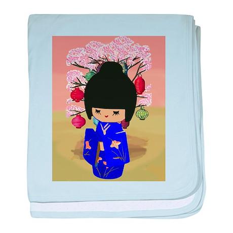 Blue Kokeshi Kawaii doll baby blanket