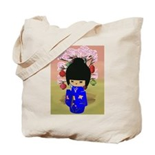 Blue Kokeshi Kawaii doll Tote Bag