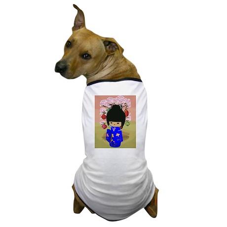 Blue Kokeshi Kawaii doll Dog T-Shirt