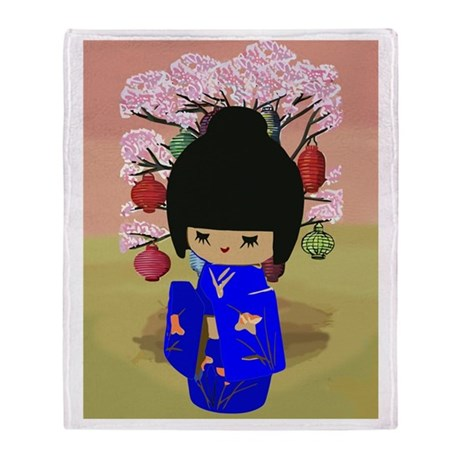 Blue Kokeshi Kawaii doll Throw Blanket