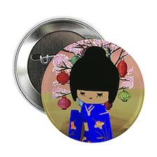 """Blue Kokeshi Kawaii doll 2.25"""" Button"""