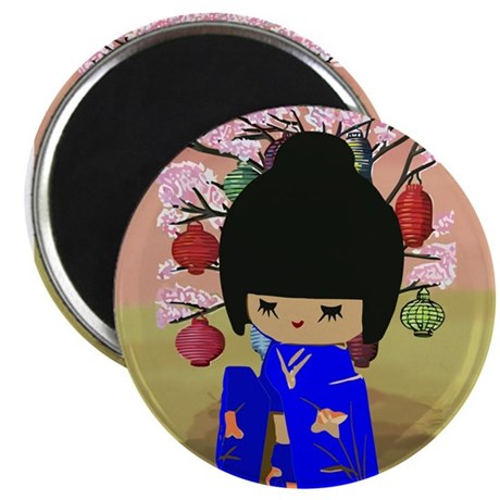 "Blue Kokeshi Kawaii doll 2.25"" Magnet (100 pack)"