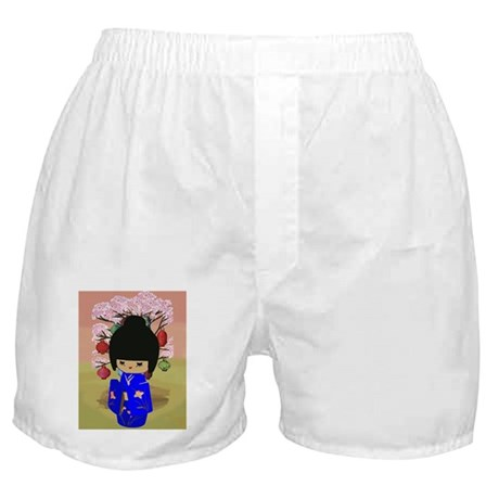 Blue Kokeshi Kawaii doll Boxer Shorts