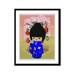 Blue Kokeshi Kawaii doll Framed Panel Print