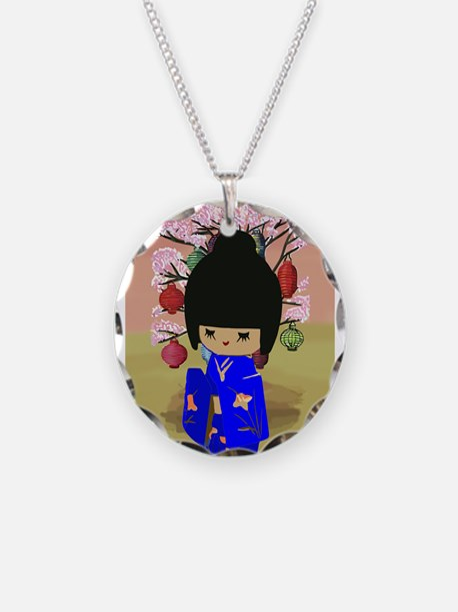 Blue Kokeshi Kawaii doll Necklace
