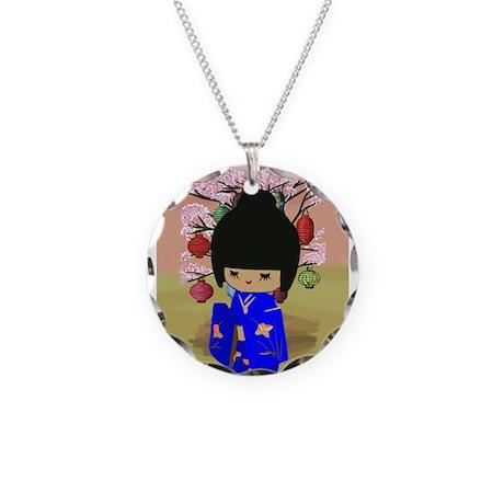 Blue Kokeshi Kawaii doll Necklace Circle Charm
