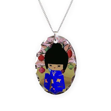 Blue Kokeshi Kawaii doll Necklace Oval Charm