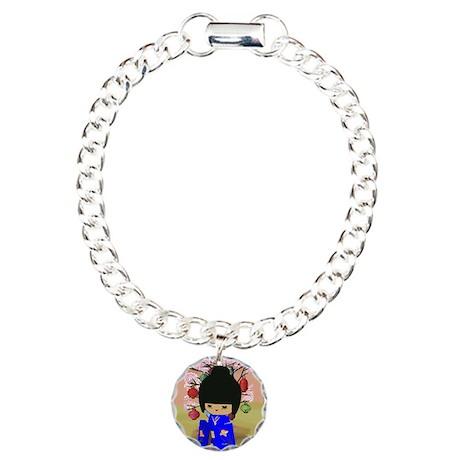 Blue Kokeshi Kawaii doll Charm Bracelet, One Charm