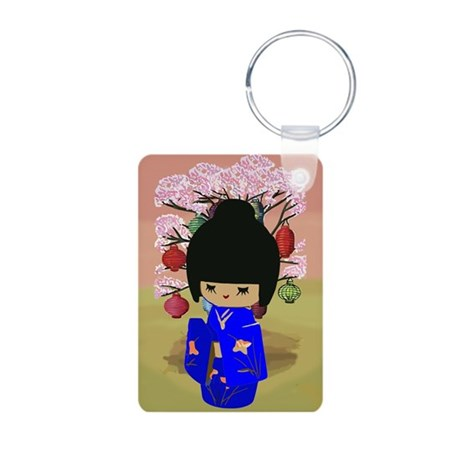 Blue Kokeshi Kawaii doll Aluminum Photo Keychain