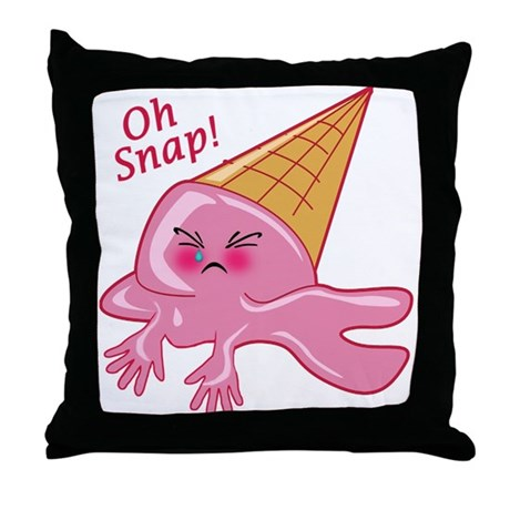 Oh Snap Funny Ice Cream Throw Pillow