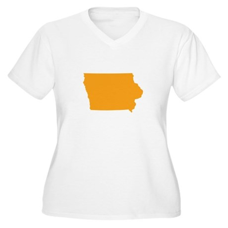 Orange Iowa Women's Plus Size V-Neck T-Shirt