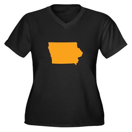 Orange Iowa Women's Plus Size V-Neck Dark T-Shirt