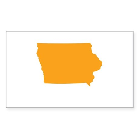 Orange Iowa Sticker (Rectangle)