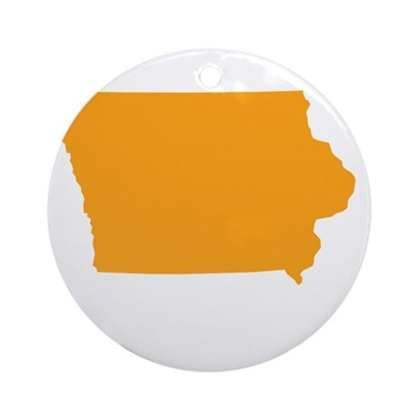 Orange Iowa Ornament (Round)