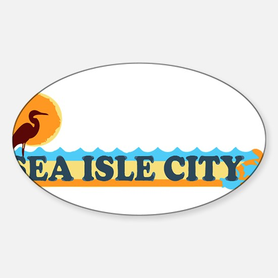 Sea Isle City NJ - Beach Design Sticker (Oval)