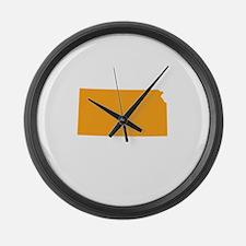 Orange Kansas Large Wall Clock