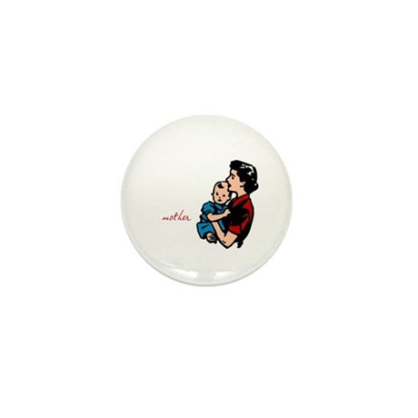 Retro Mother and Baby Mini Button