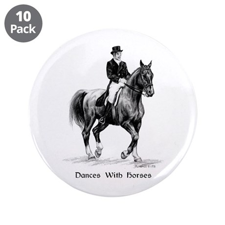 "Sport Horse ""Dressage"" 3.5"" Button (10 pack)"
