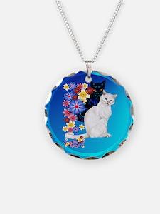 Black and White Garden Kittie Necklace